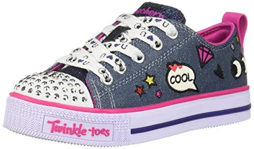 - Skechers Kids Girls' Twinkle LITE-Patch POP Sneaker, Denim/Multi, 3 Medium US Little Kid