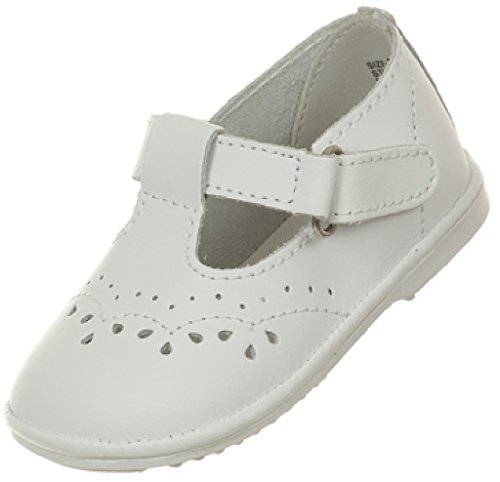 BNY Corner Baby Girls Angel T Strap Mary Jane Toddler Christening Baptism Infant Dress Shoes White 3 Infant TR 29.45 (T-strap Mini Platform)