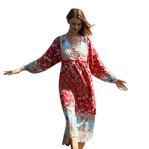 Sherostore ♡ Women's Dresses Bohemian Floral Printed Summer Casual Short Sleeve Flowy Ethnic Maxi Dress (Best Ip Address Tracker)