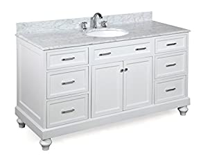 Kitchen Bath Collection KBC511WTCARR Amelia Single Sink Bathroom Vanity  With Marble Countertop, Cabinet With Soft Close Function And Undermount  Ceramic Sink ...