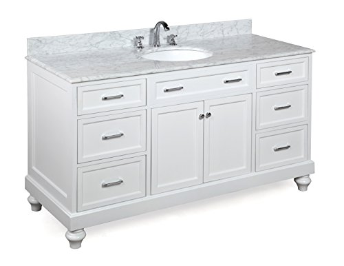 Superb Kitchen Bath Collection KBC511WTCARR Amelia Single Sink Bathroom Vanity  With Marble Countertop, Cabinet With Soft Close Function And Undermount  Ceramic Sink ...
