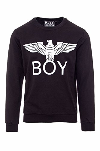 Nero Bl1012 Felpina Uomo Felpa Stampa Girocollo Boy London x0RYnU