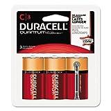 Duracell QUC3RFP Quantum Alkaline Batteries w/ Duralock Power Preserve Technology, C, 1.5V, 3/Pk