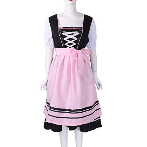 VIccoo Oktoberfest Womens Costumes Dress Dirndl Embroidered Lace Up Halloween Festival - Medium ()