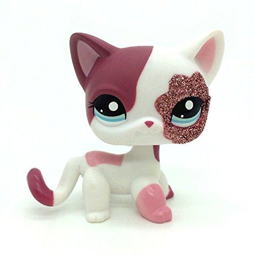 ZAD 2'' Pink White Sparkle Glitter Short Hair Cat Littlest Pet Shop LPS 2291 ()