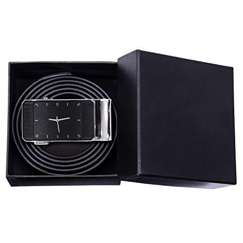Adesigner Men'S Belt for Jeanswatch Buckle Belts Solid Cowskin Genuine Leather Belt Straps,Pd-01-Ea-2101,145Cm ()