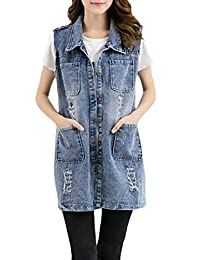 Joe Wenko Womens Sleeveless Faded Denim Plus Size Ripped Jean Coat Mid-Long Vest