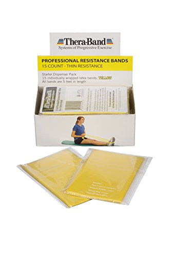 TheraBand Resistance Bands, 5 Foot, 15 Count Professional Latex Elastic Bands For Upper & Lower Body Exercise, Physical Therapy, Pilates, Home Workouts, Rehab, Yellow, Thin, Beginner Level 2 by TheraBand (Image #6)