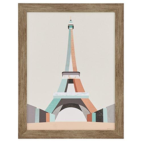 Mid Century Modern Teal and Pink Eiffel Tower Print Framed Wall Art Décor - 21