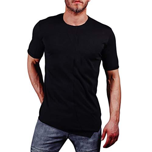 Mens Pure Color Splice Casual Slim Fashion T-Shirt Lapel Short Sleeve Shirt Black