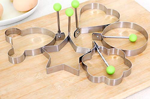 Circle Egg Mold Stainless Steel Flower Star Heart Circle-Shaped Fried Egg Device Rings Circle Omelette Pancake & Cake Mold Cooking Tool Gift