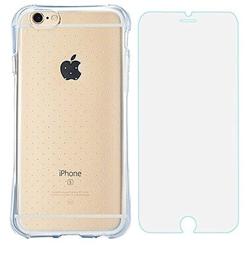 Slim Transparent Coque antichoc en TPU avec particules pour iPhone 6S Plus d'angle avec verre trempé–Bleu