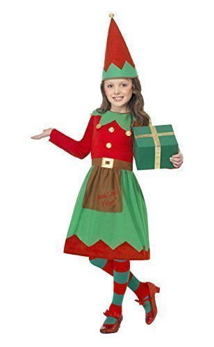 Fancy Me Big Girls' Santa Little Helper Elf Christma Festive Fancy Dres Costume 10-12 Years Green (Santa Little Helper Costumes)