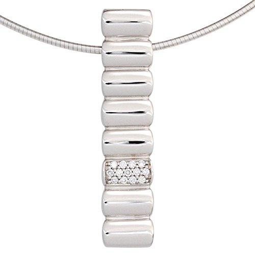 Pendentif avec 13 diamants brillants 0,20 ct. or blanc 585 pour femme