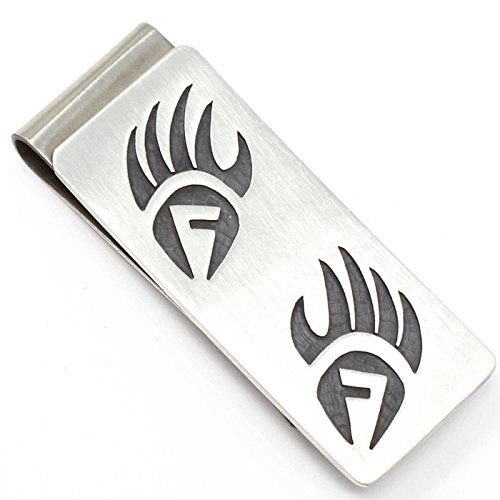 (Hopi Sterling Silver Money Clip Featuring Bear Paw & Prayer Feather Symbols...)