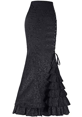 chouyatou Women's Retro Lace-Up Drawstring Tiered Ruffle Maxi Long Mermaid Pencil Skirt (X-Large, Black)