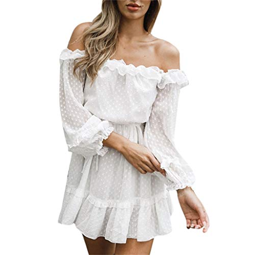 (Womens Off Shoulder Floral Mini Dress boeson Dresses Summer Sundress Party Beach)