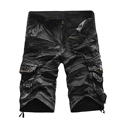 (Alangbudu Men's Casual Twill Elastic Cargo Shorts Below Knee Loose Fit Multi-Pocket Capri Long Shorts Black Camouflage)
