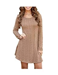 ARJOSA Women's Long Sleeve Round Neck Cable Knit Tunic Dress Pullover Sweater