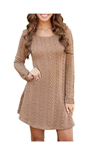 ARJOSA Women's Elasticity Sleeve Round Neck Cable Knit Pullover Sweater Dress (Medium, 1 (Sleeve Crewneck Cable)