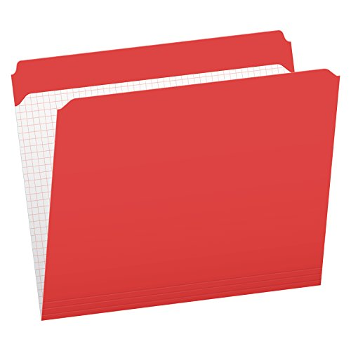 Pendaflex Color File Folders with Interior Grid, Letter Size, Red, Straight Cut, 100/BX (R152 RED)