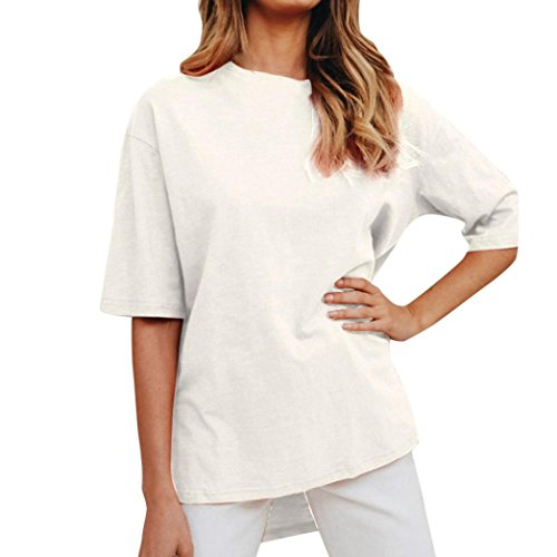 Women Casual Solid T-Shirt O-Neck Short Sleeve Top Split Irregular Loose Blouse(White,Large)