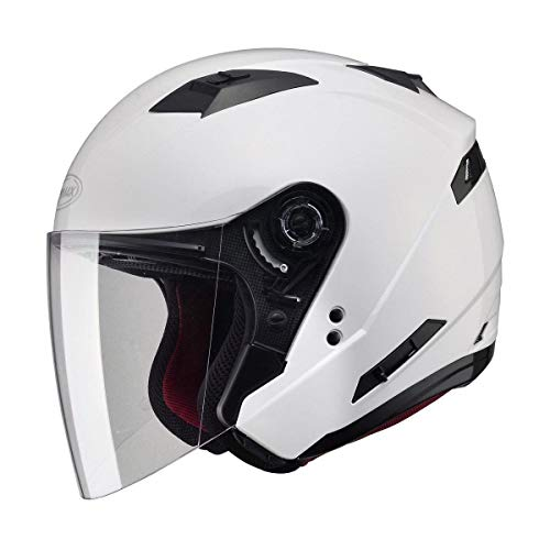 Gmax OF77 unisex-adult open-face-helmet-style Motorcycle Street Helmet Solid (Pearl White,Medium),1 Pack