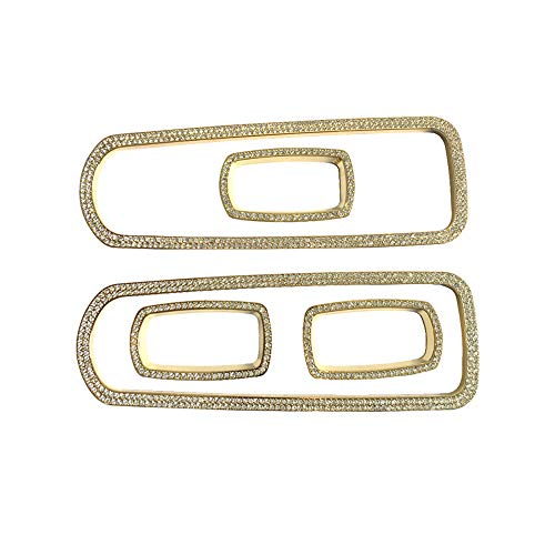 (1797 Compatible Window Control Covers for Porsche Accessories Parts Cayenne Macan Panamera Bling Armrest Switch Regulator Caps Decals Stickers Interior Decorations Women Men Crystal Gold Pack of 5)