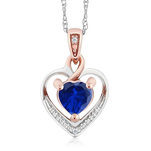 Gem Stone King 10K White and Rose Gold Blue Simulated Sapphire and Diamond Heart Shape Pendant Necklace (0.61 cttw, With 18 inch Chain)
