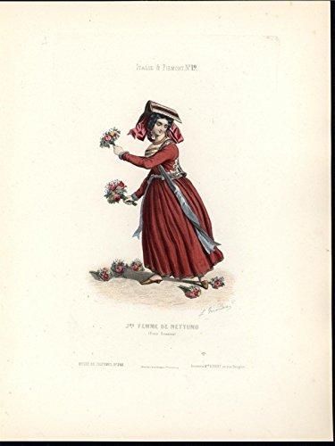Beautiful woman Bouquets Nettuno Italy c.1860 antique ethnic color costume print ()