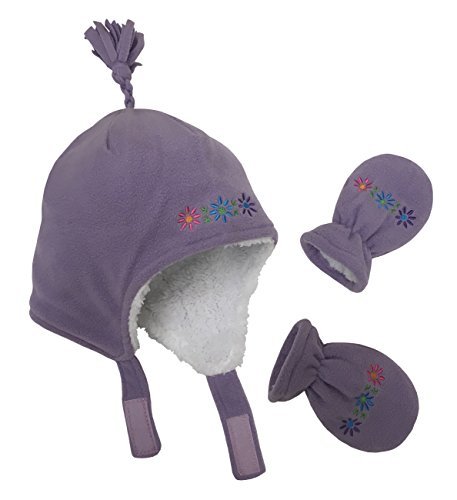 N'Ice Caps Girls Sherpa Lined Flowers Embroidered Micro Fleece Set (6-12mo, Light Purple (Light Purple Mittens)