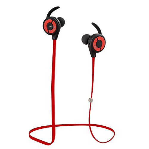 Bluetooth Headphones, GJT E10 V4.1 Wireless Sports Earphones with Mic Bluetooth Headsets Lightweight Sweatproof in Ear Noise Cancelling Earbuds Secure Fit for Gym&Sports (Red)
