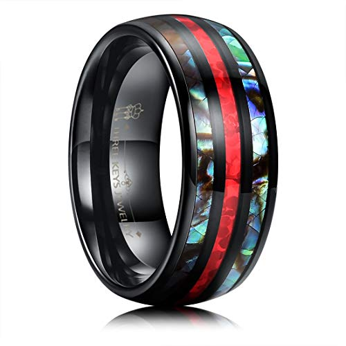 THREE KEYS JEWELRY 8mm Mens Black Tungsten Carbide Ring with Red Imitated Opal Inlay Colored Shellfish Wedding Bands for Men Women Size 8.5 (Shell Red Jewelry)