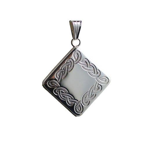 Médaillon en argent avec gravure Celtique, en forme de losange, de 22mm, conçu à la main.
