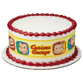 Whimsical Practicality Curious George Funny Faces Edible Icing Image Cake Border Strips -