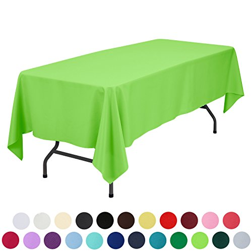 VEEYOO 60 x 102 inch Rectangular Polyester Restaurant Party Tablecloth, Apple Green