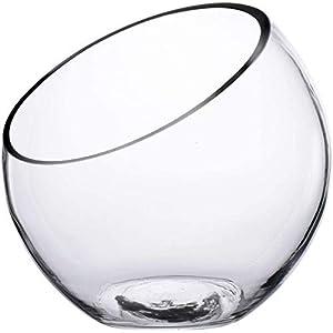 KNIKGLASS Clear Glass Vase Glass Terrarium Slant Cut Bubble Bowl, Fruit Container, Fish Bowl & Plant Terrarium, Slant…