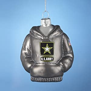 U.S. Army Kurt Adler Glass Hoodie Ornament, 3.75-Inch