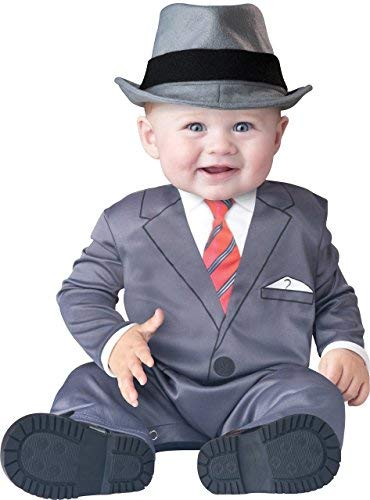 Deluxe Baby Business Boys 1920s Gangster Suit Gatbsy Book Day Halloween in Character Fancy Dress Costume Outfit (18-24 Months) Gray ()