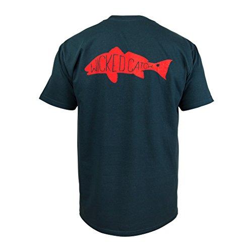 Wicked Catch Slot Redfish Fishing T-Shirt (Navy Blue, L) (Redfish Fishing T-shirt)
