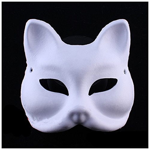 Costume The Purge Diy Halloween (Halloween Mask White painted pulp paper DIY Full fox cat/fox masquerade)