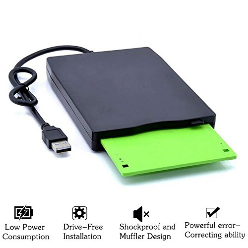 3.5'' USB External Floppy Disk Drive Portable 1.44 MB FDD for PC Windows 2000/XP/Vista/7/8/10 Mac,No Extra Driver Required,Plug Play,Black by Dainty (Image #2)