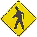 "Brady 94234 24"" Height, 24"" Width, B-959 Reflective Aluminum, Standard Traffic Sign, Legend ""Crosswalk With Picto"""