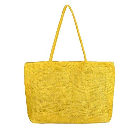 borsetta Amlaiworld tracolla Giallo spiaggia borsa paglia grande a Donna Estate qSSCnZWUx