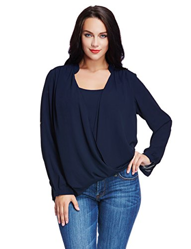 LookbookStore Women's Pluse Size Casual Chiffon Twisted Long Sleeve Blouse Shirt 4X