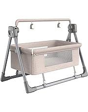 Rocking Chair Electric Cradle Baby Swing Bed, Automatic Rocking Recliner Crib Basket, Music Remoter Control Rocker Sleeping Basket Cot,Khaki LJMYQL