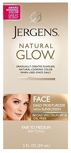 - Jergens Natural Glow Oil-Free Daily Moisturizer for Face with Broad Spectrum SPF 20, Fair to Medium Skin Tones, 2 Ounces