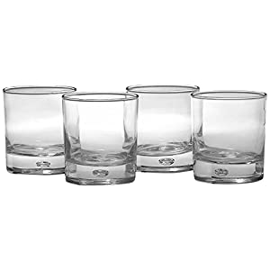 Circleware Air Bubble Heavy Base Whiskey Glass Drinking Glasses, Set of 4, Entertainment Dinnerware Glassware for Water, Juice, Beer Bar Liquor Dining Decor Beverage Cups Gifts, 10 oz, Oslo DOF