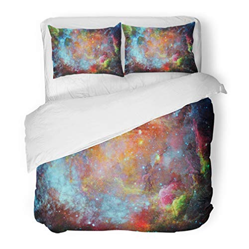 Emvency Bedding Duvet Cover Set Full/Queen (1 Duvet Cover + 2 Pillowcase) Blue Outer Beautiful Nebula and Galaxy of This Furnished by NASA Space Abstract Hotel Quality Wrinkle and Stain Resistant ()