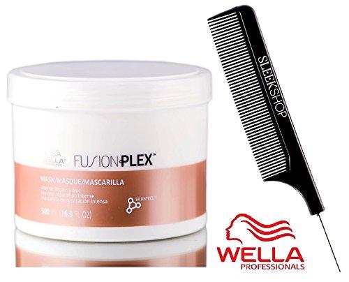 Wella FUSION PLEX Intense Repair Mask (with Sleek Steel Pin Tail Comb) (16.9 oz / 500 ml - LARGE)